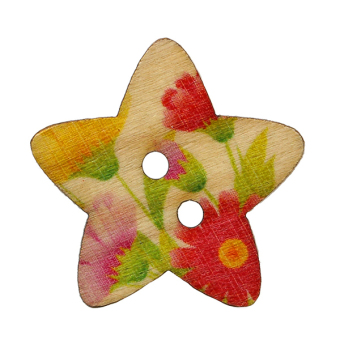 Harga Bluelans 2 Holes Wooden Star Scrapbook Sewing Buttons 50Pcs