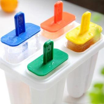 DIY 4 Cell Ice Cream Ice Pop Freezer Maker Popsicle Icy Pole Mold Tray - intl