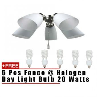 Harga Fanco Light Kit For Ceiling Fans LK402-5L (Free 5 pcs 20 Watts Halogen Warm White Bulbs) Compatible with Fanco FFM2000 52""