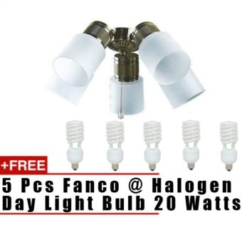 Harga Fanco Light Kit For Ceiling Fans LK302-5L (Free 5 pcs 20 Watts Halogen Warm White Bulbs) Compatible with Fanco FFM2000 52""