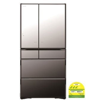 Hitachi 580L Original Vacuum Compartment and Aero-Care Vegetable Compartment with new Platinum Catalyst Fridge RF7300XS Crystal Mirror (Made in Japan)