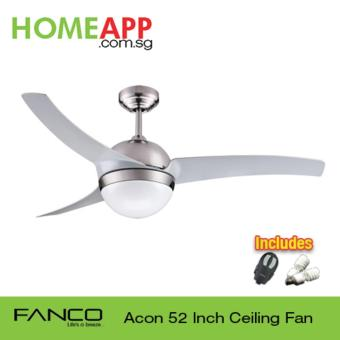 Harga Fanco Acon 52 Ceiling Fan with Light and Remote (Metallic Silver)
