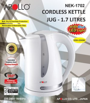 APOLLO Electric Kettle NEK-1702 Cordless Jug 1.7L