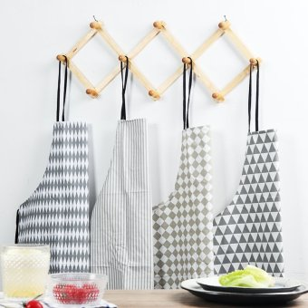 Harga Cotton anti oil waterproof apron kitchen apron fashion bust sleeveless gowns nordic style geometric pattern apron