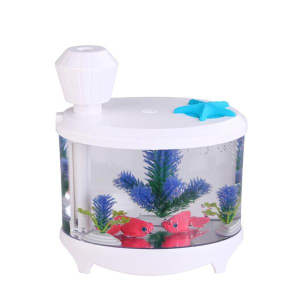 Leegoal 460ml USB Portable Small Fish Tank Cool Mist Aroma Humidifier Air Purifier with 7 Cloor LED Lights and Timer for Office Home Kids Bedroom(White) - intl Singapore