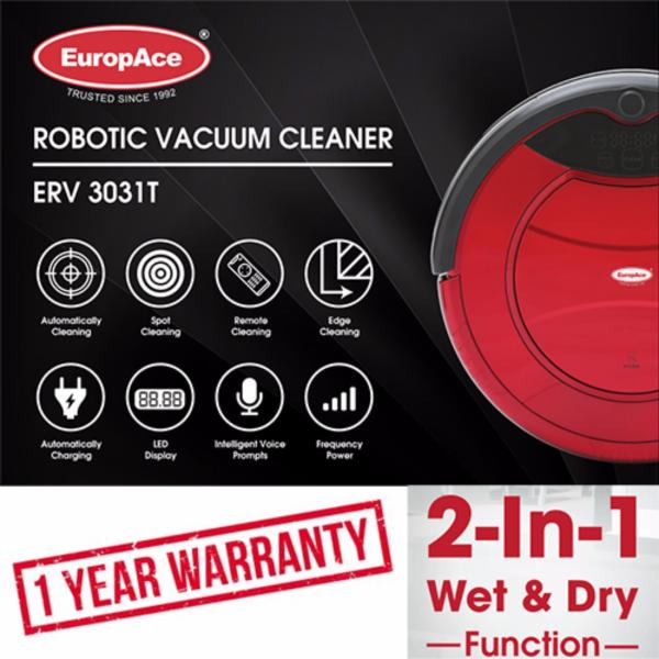 *NEW LAUNCH* EuropAce Robotic Vacuum Cleaner (Wet and Dry) ERV 3031T Auto Cleaning - 1 Year Warranty Singapore