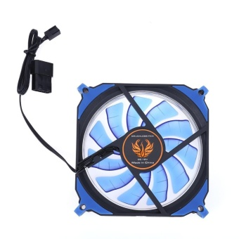 Harga 12cm 120mm 3Pin 4Pin PC Computer LED Cooling Brushless Fan(Blue) -intl