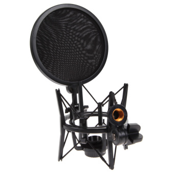 1Set Shock Mount Microphone Stand Holder with Integrated Pop Filter - intl