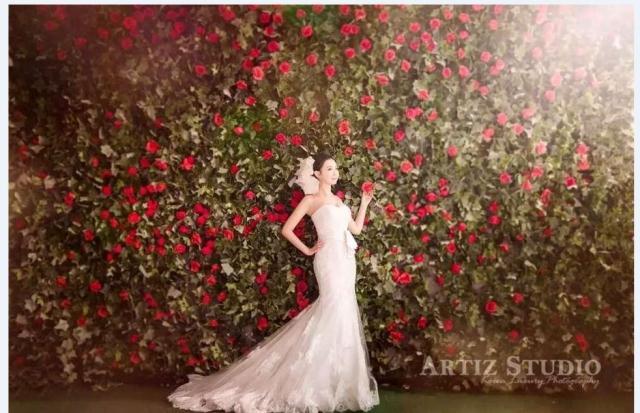 2017 studio wedding real flower wall photography props Red Rose Flower Korean wedding props real flower Wall