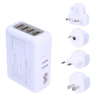 4 USB Ports AC Universal Travel Wall Adaptor Charger With 4AC(White) - intl
