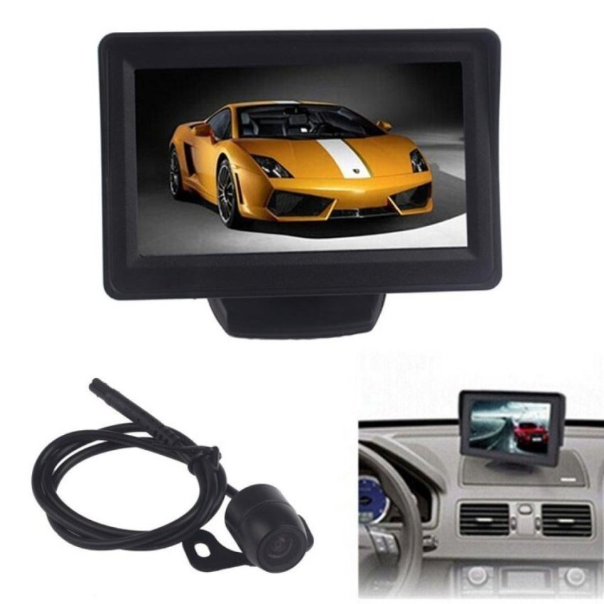 4.3Inch Car TFT LCD Monitor Mirror + Reverse Rear View BackupCMOSCamera - intl