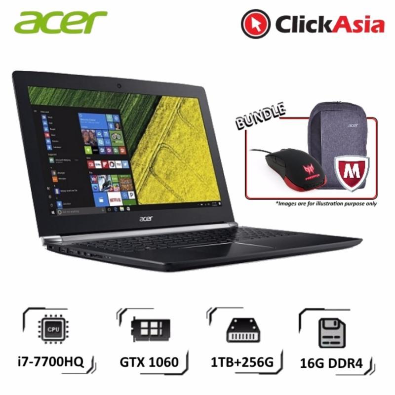 """Acer Aspire V Nitro (VN7-593G-738X) - 15.6""""/i7-7700HQ/16GB DDR4/256GB+1TB/Nvidia GTX1060/W19 (Black)"""