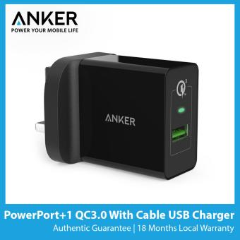 Anker PowerPort+1 Quick Charge 3.0 with 3ft Cable USB Charger [SG Plug]