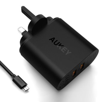 Harga Aukey 36W 2 Port USB Wall Charger with Qualcomm Quick Charge 3.0(Black)