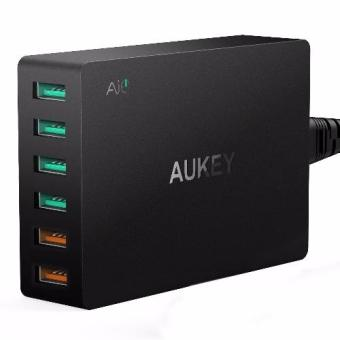 Harga AUKEY 60W 6 Ports USB Desktop Wall Charger Compatible with QualcommQuick Charge 3.0 - Local 3 pin plug