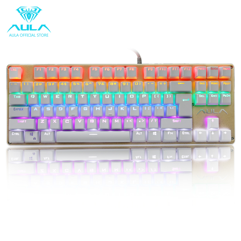 AULA OFFICIAL F2012 Mechanical Multicolor Backlit Gaming Keyboard(Gold) Singapore