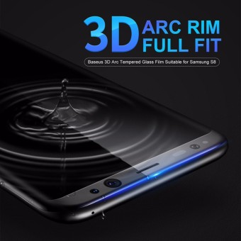 Baseus 3D Arc Protective Flim Tempered Glass for Samsung S8 Full Screen Protector Film For Samsung Galaxy S8 Guard Cover - intl
