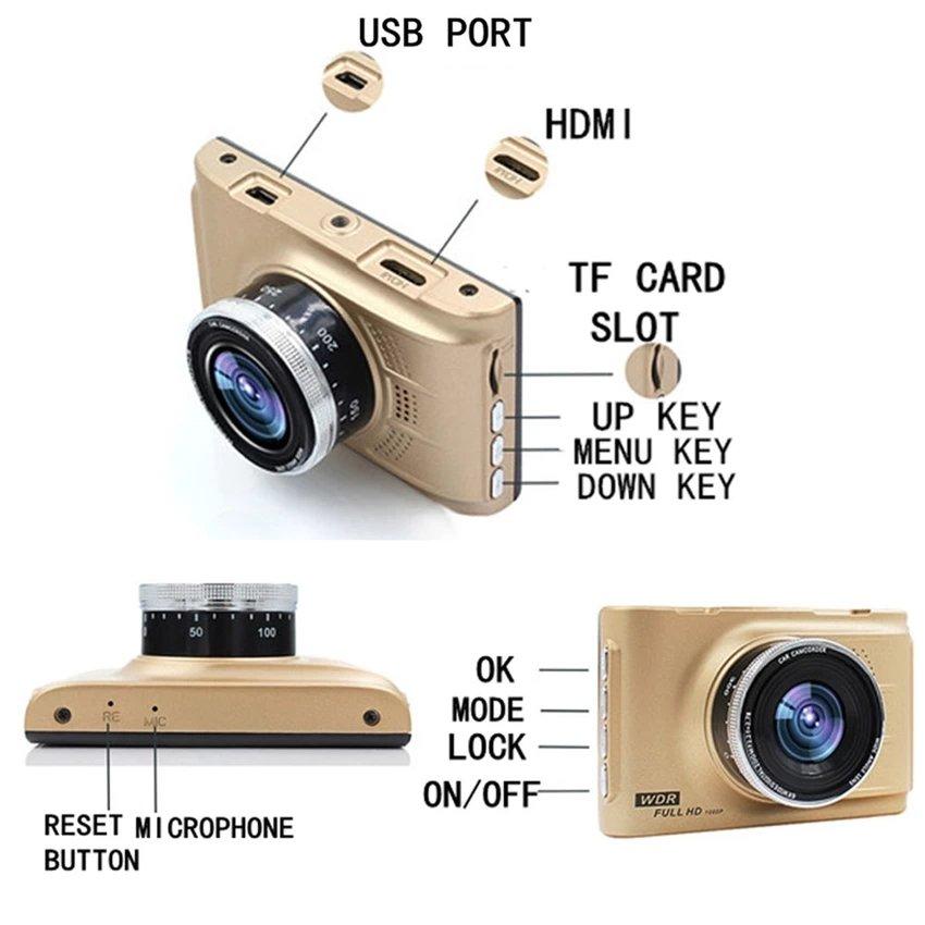Car Cameras HD Car DVR Car Camera Video Recorder Dash Cam Camcorder(Gold) - intl