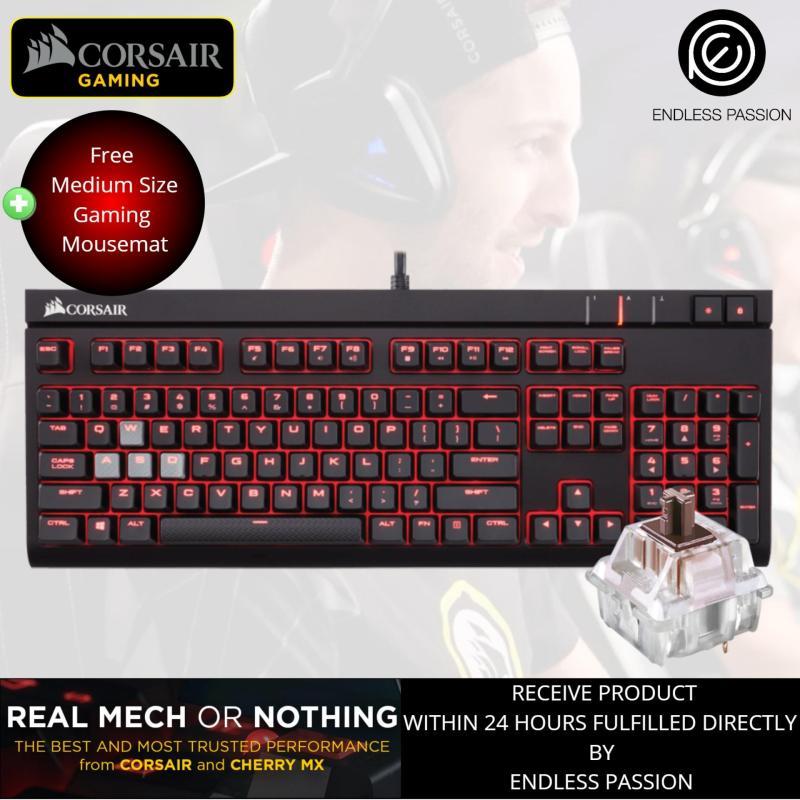 Corsair STRAFE Mechanical Gaming Keyboard, Red LED, Cherry MX Brown/Red Singapore