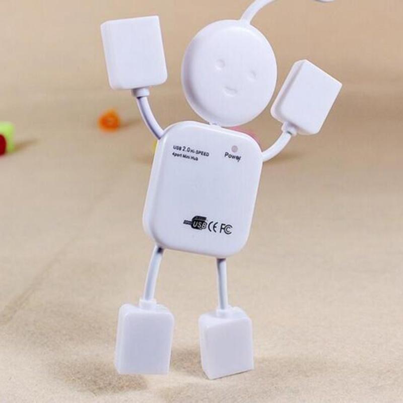 Etmakit Mini Lovely White Human Doll Shape High Speed USB 4 ports Hub For PC Computer Laptop Port Splitter - intl