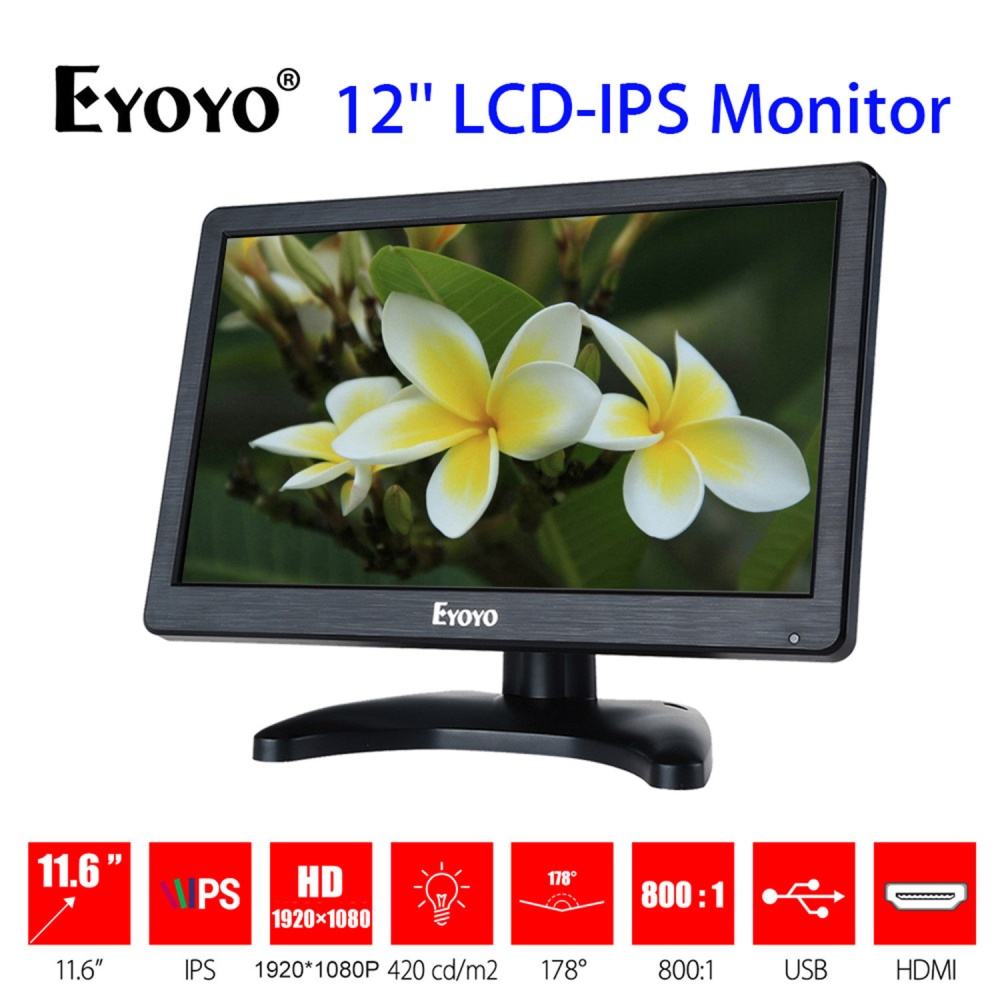 Eyoyo H1116 12hd 1920x1080 Ips Lcd Security Monitor Screen Input Audio Video Display For Pc Computer