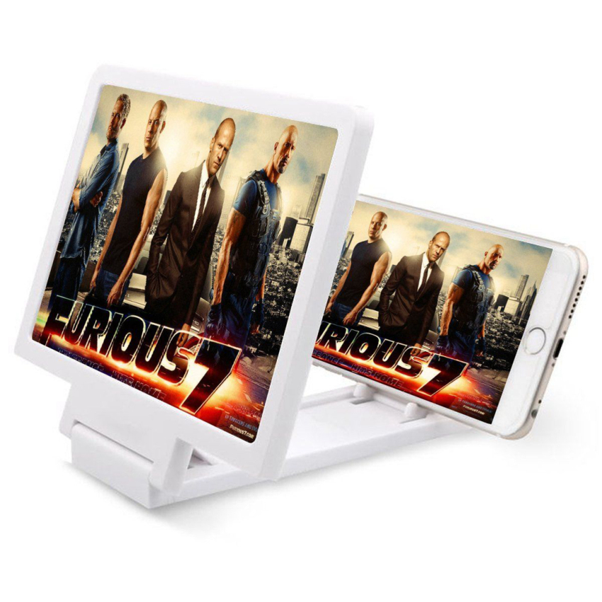 Folding 3X Zoom Magnifying Glass Cell Phone Screen HD for 3D MoviesWhite
