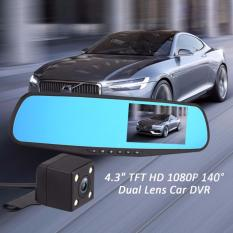 Full HD 1080P Dash Cam Auto 4.3 inch Rearview Mirror Digital Video Recorder Dual Lens Car DVR Camera Singapore