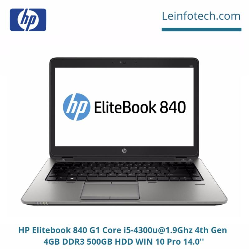 HP Elitebook 840 G1 14 Core i5-4300U@1.9Ghz 4th Gen 4GB RAM 500GB HDD Win 10 Pro Bluetooth Webcam Used