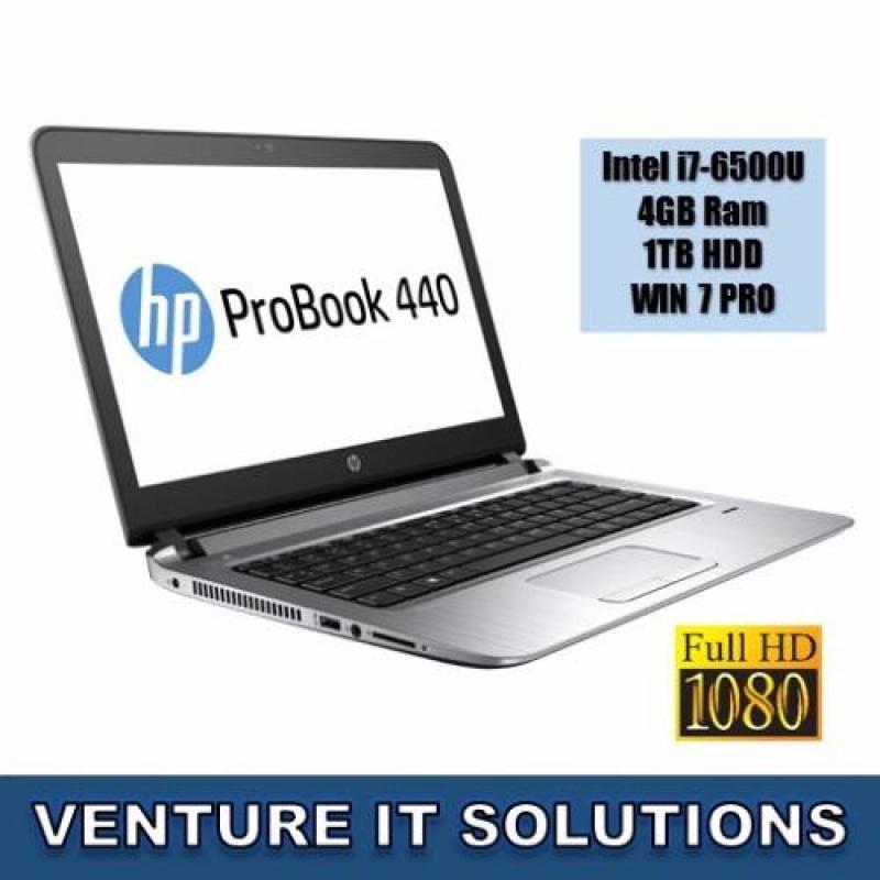 "HP PROBOOK 440 G3 / INTEL CORE I7-6500U 2.5GHZ MAX 3.1/ 4GB RAM / 500GB HDD 7200 RPM/ INTEL HD GRAPHICS/ 14""LED FULL HDDISPLAY 1920 X 1080 /WINDOWS 7 PROFESIONAL WITH WINDOW 10 PRO DVD UPGRADE"