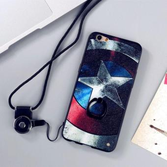 Harga For Oppo R9s 3D Painting Ring holder Cover Case(Captain America)+ One Free Phone Lanyard - intl
