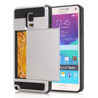 Harga Ueokeird Wallet Case Card Pocket Dual Layer Hybrid Rubber Bumper Protective Card Case Cover for Samsung Galaxy Note 4 / N910 - intl