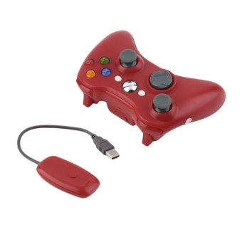Harga OH 2.4G Game Wireless Controller Gamepad Joystick & PC Receiver for XBOX360 (Red)
