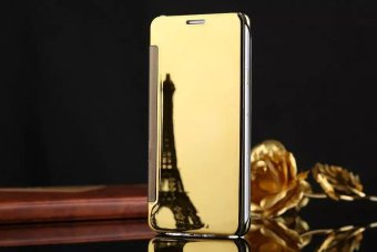 Smart sleep mirror leather case Cover for Samsung Galaxy A7 2016 (gold) - intl