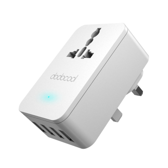 Harga dodocool 20W 4A Smart 4 USB Charging Port Portable Multi-function Travel Power Adapter Wall Charger with Universal AC Outlet UK Plug.