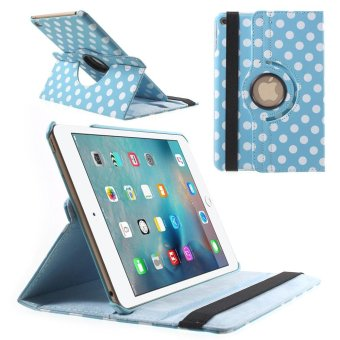 Harga Polka Dots Rotary Stand Leather Case Protector for iPad mini 4 - Blue - intl