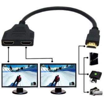 Harga 1080P HDMI 1 Male To Dual HDMI 2 Female Y Splitter Cable Adapter for HDTV LCD