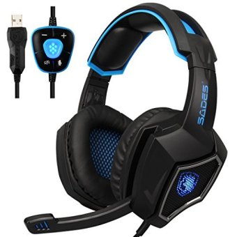 Harga [2016 Newest]SADES Spirit Wolf 7.1 Surround Sound Stereo USB Gaming Headset with Mic,Over-the-Ear Noise Isolating,Breathing LED Light For PC Gamers (Black Blue)
