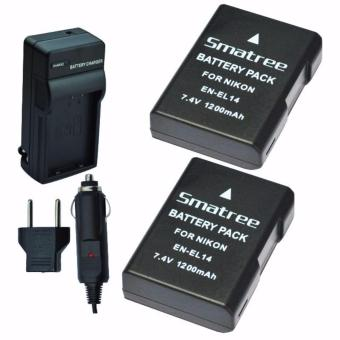 Harga Smatree Replacement Battery (2-pack) + AC Wall Charger for Nikon En-EL14