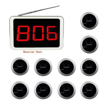 Harga 999CH Wireless Restaurant Pager Call Paging Queuing System with 1 Receiver Host and 10 Call Button 433.92MHz
