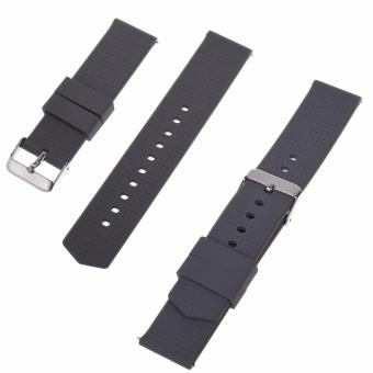 Harga Lightning Power-2pcs (18mm, 20mm, 22mm) Quick Release Silicone Rubber Soft Watch Bands Watch Strap(Gray) - intl