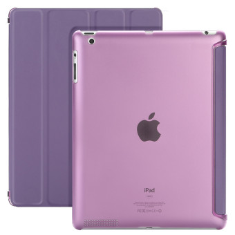 Harga TKOOFN Ultra Thin Magnetic Leather Case Stand Smart Cover for iPad 2 3 4 Four Fold Scrub Transparent Back Case(Purple)