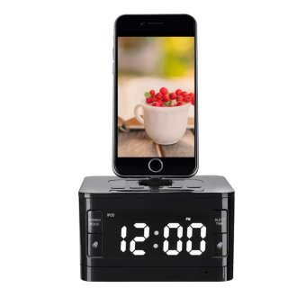 Speaker Docking Station Bluetooth Alarm Clock FM Radio Dock for iPhone (Black) - intl