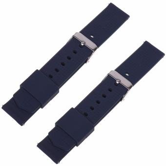 Harga Lightning Power-2pcs (18mm, 20mm, 22mm) Quick Release Silicone Rubber Soft Watch Bands Watch Strap(Dark Blue) - intl