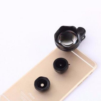 4in1 3x HD Telephone Lens Fisheye Wide Angle Macro Lenses Zoom Micros Telescope For iPhone 7 6s 5s Camera Cell Mobile Phone Lens - intl