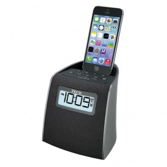 iHome iPL22 Stereo FM Clock Radio with Lightning Dock Charge/Play for iPhone 6s/6s Plus/5s/SE and iPod