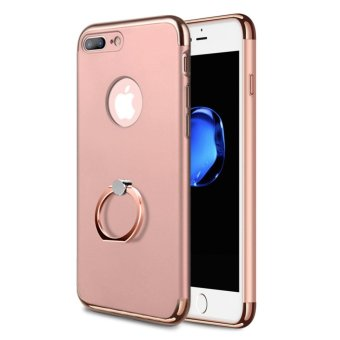 Harga NORTHJO 3 In 1 Slim Hard Cover Case Coated Non Slip Matte Surface Electroplate Frame with Metal Ring Buckle Bracket for Apple iPhone 7 Plus - Rose Gold - intl