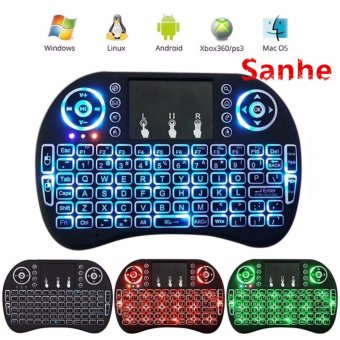Harga Original I8 Backlight Keyboard Ipazzport KP-810-21 SDL Backlight 2.4GHz Wireless Mini Touchpad Handheld Backlit Keyboard Air Mouse For Pc, Pad, Xbox 360, Ps3, Google Android Tv Box, Htpc, Iptv(Can be three-color conversion green/blue/red) - intl