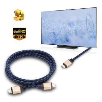 Harga 4K×2K UHD Braided Male to Male HDMI V2.0 Audio Cable Connectors 1.8M - intl(...)