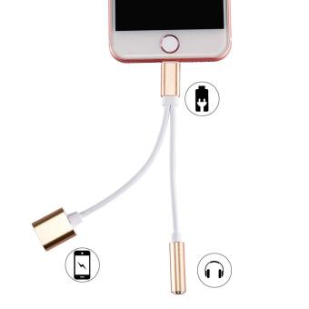 Harga HAT PRINCE Lightning 8pin to 3.5mm Earphone Jack + Charging Port Splitter Cord for iPhone 7 / 7 Plus - Gold - intl