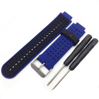Harga Silicone Strap with Metal Buckle for Garmin Forerunner 220/230/235/630/620/735 - Black / Dark Blue - intl
